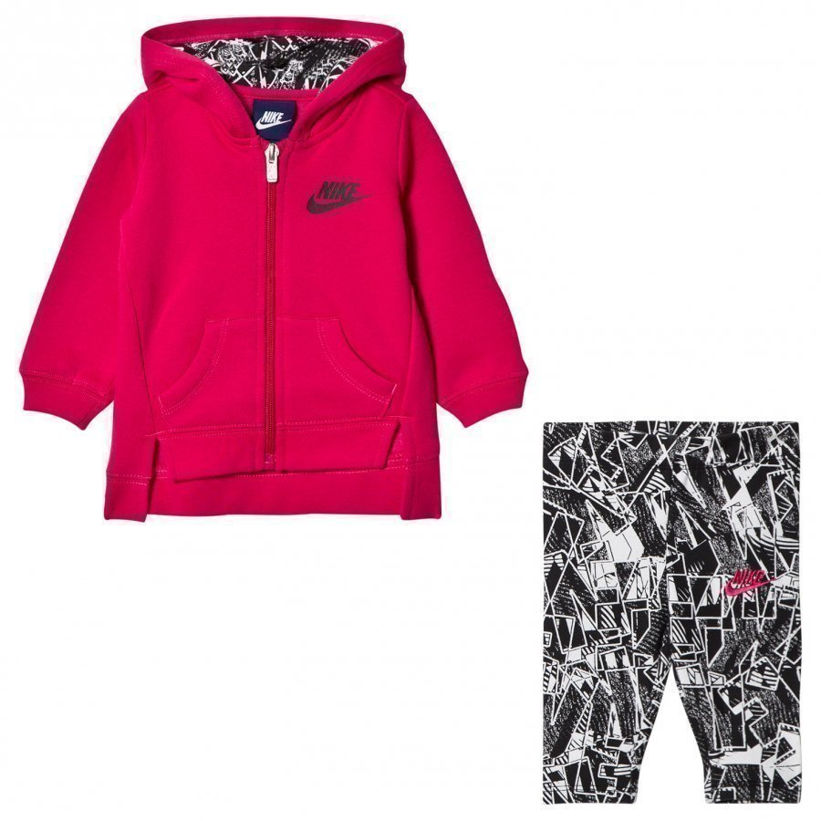 Nike Black/Rush Pink Fleece Hoodie & Legging Set Asusetti