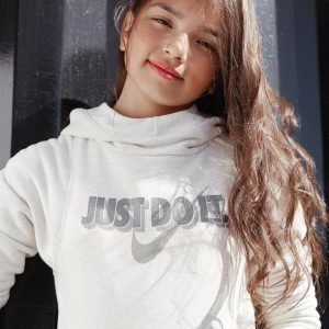 Nike Girls' Just Do It Crop Hoodie Birch / Gold
