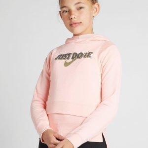 Nike Girls' Just Do It Crop Hoodie Vaaleanpunainen
