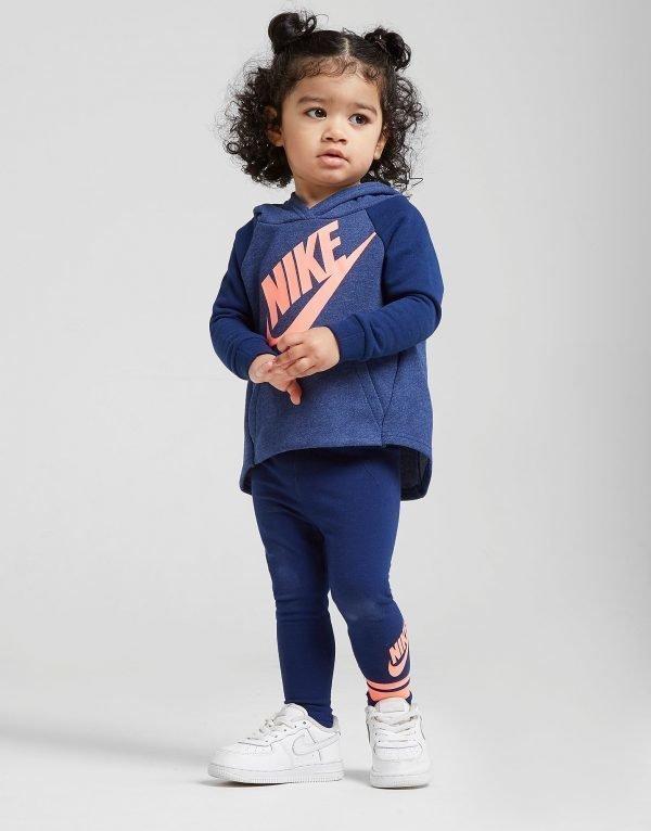 Nike Girls' Long Line Huppari / Legginsit Setti Sininen