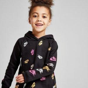 Nike Girls' Shine All Over Print Logo Huppari Musta