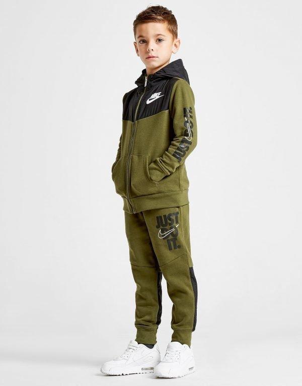 Nike Just Do It Woven Overlay Tracksuit Khaki / Black