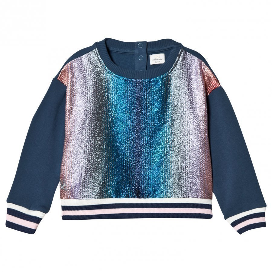 No Added Sugar Pink And Blue Lurex Stripe Sweater Oloasun Paita
