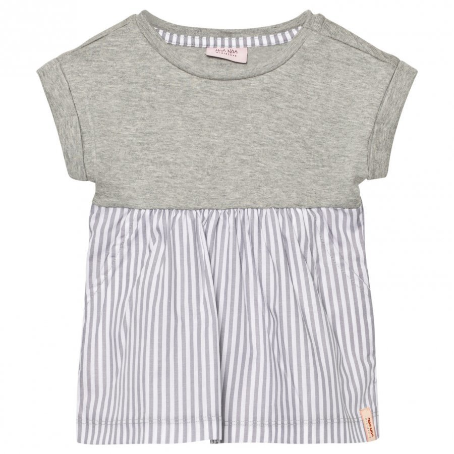 Noa Noa Miniature Baby Dress Striped Brushed Grey Melange Mekko