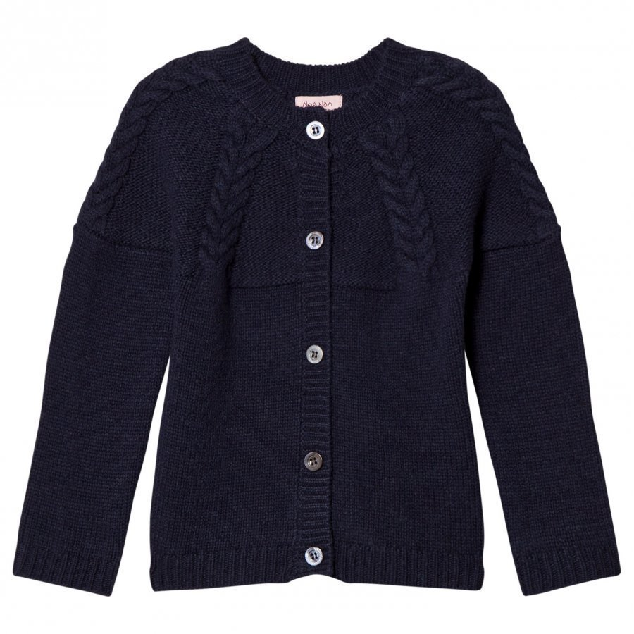 Noa Noa Miniature Braid Knit Cardigan Dress Blue Neuletakki