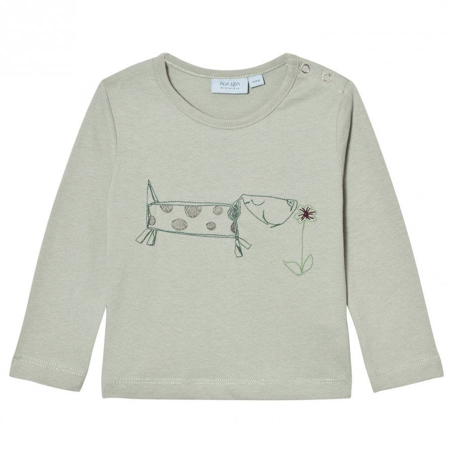 Noa Noa Miniature Embroidered Dog Tee Puritan Grey Pitkähihainen T-Paita