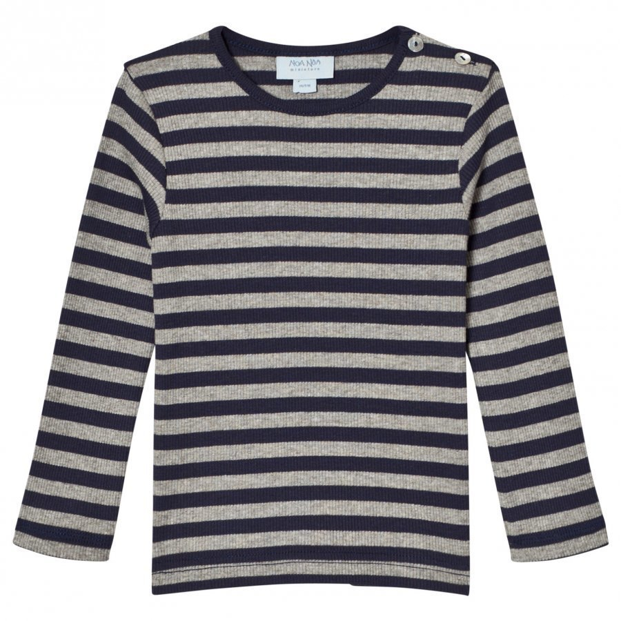 Noa Noa Miniature Stripe Tee Grey/Navy Pitkähihainen T-Paita