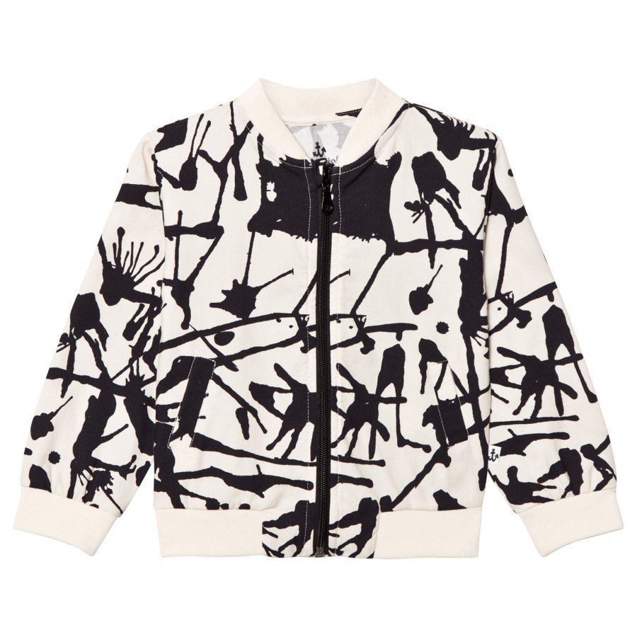 Noe & Zoe Berlin Black Ink Print Cotton Bomber Jacket Bomber Takki