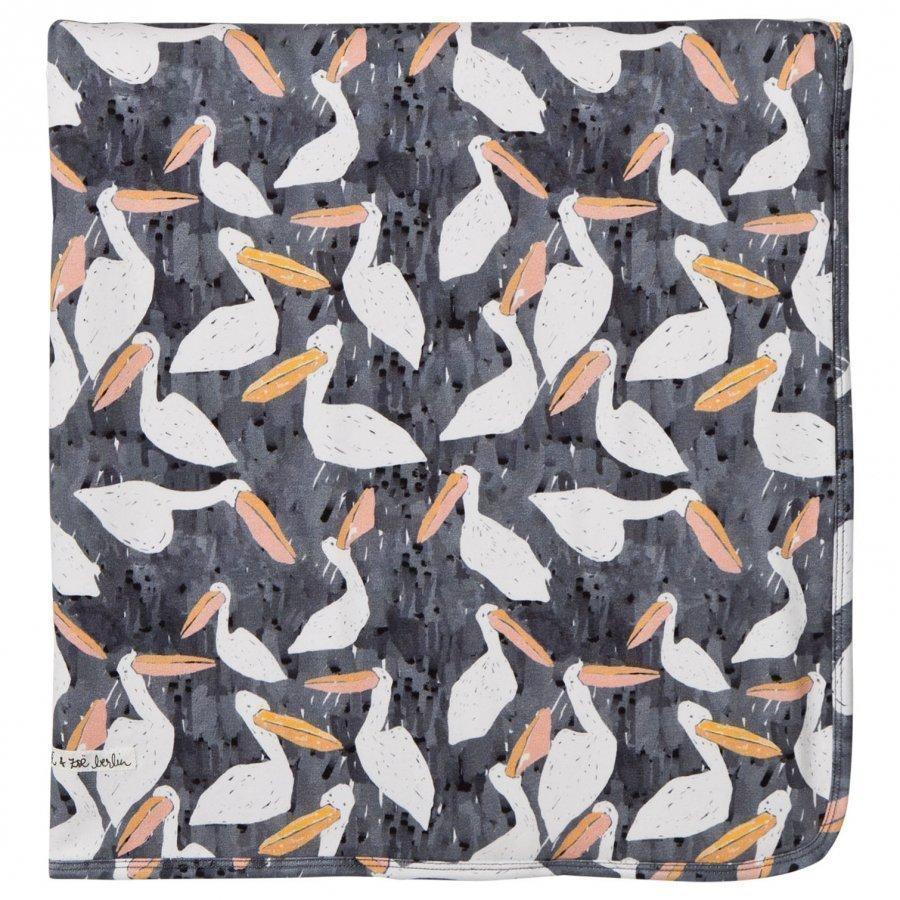 Noe & Zoe Berlin Black Stork Print Blanket Huopa