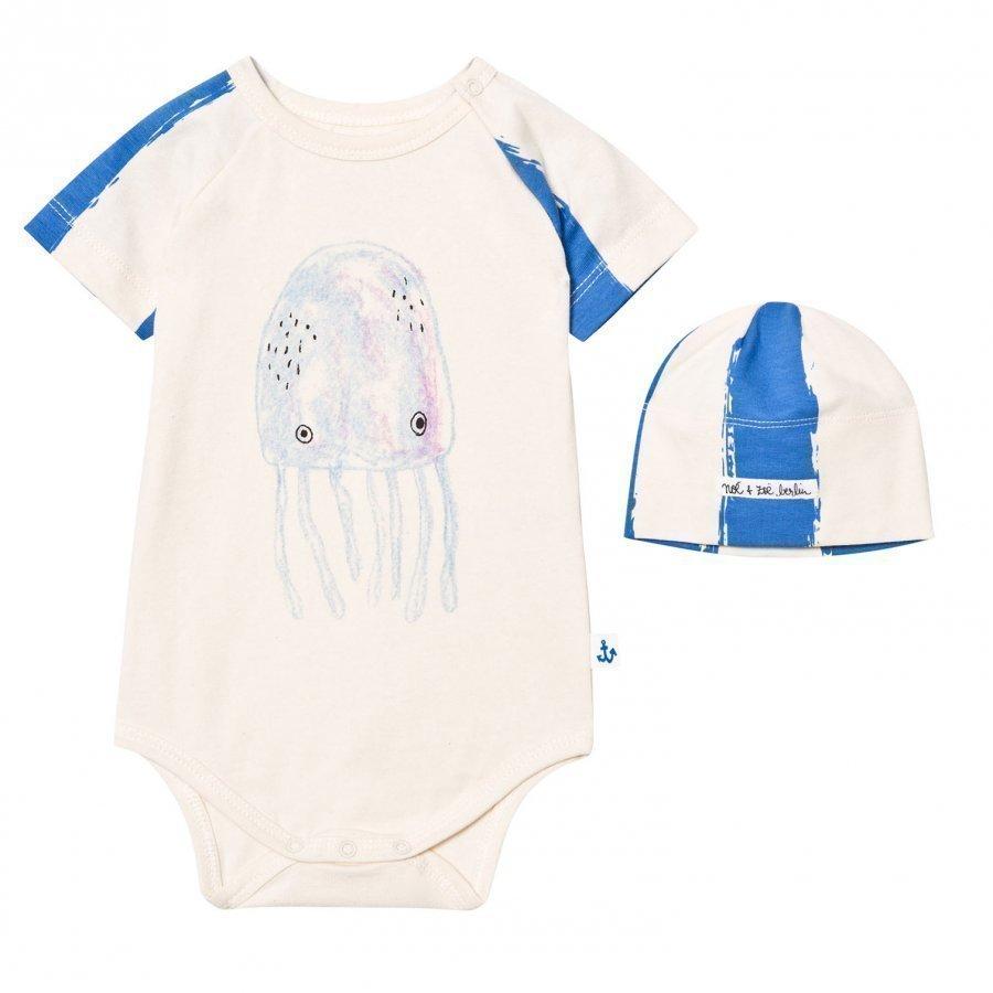 Noe & Zoe Berlin Blue Jellyfish Print Baby Body And Hat Gift Set Body