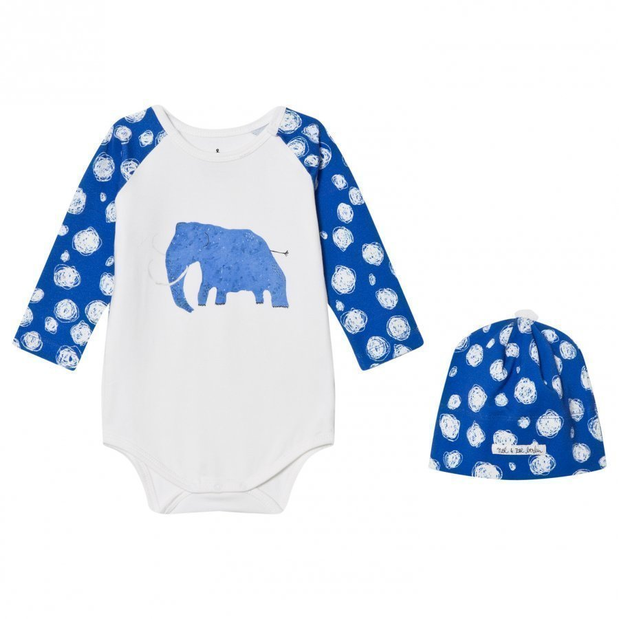 Noe & Zoe Berlin Blue Mammoth Hat And Baby Body Gift Set Lahjasetti