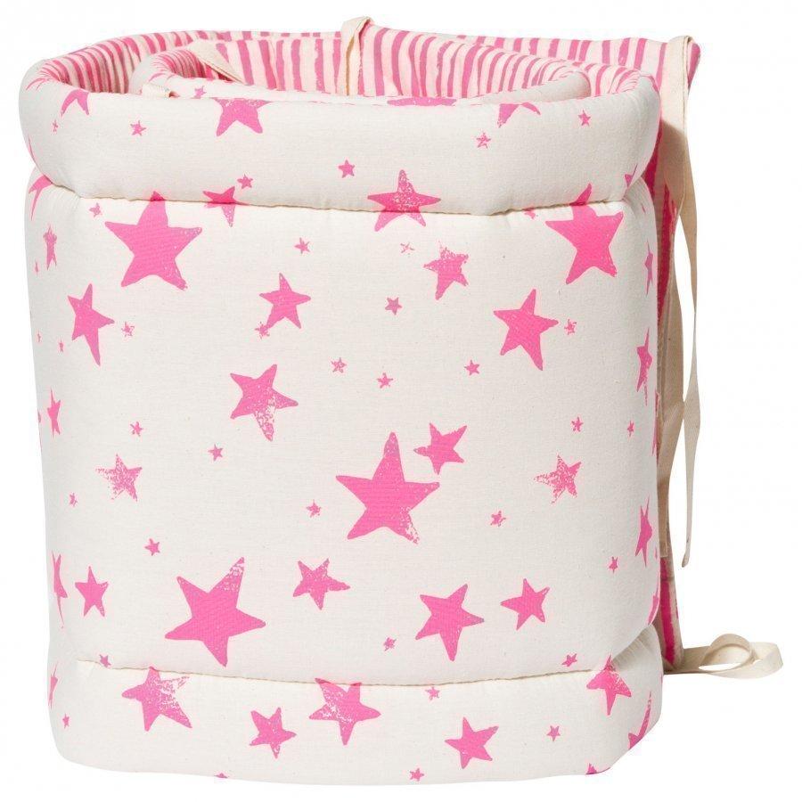 Noe & Zoe Berlin Bumper Neon Pink Stars & Stripes Pinnasängyn Suoja