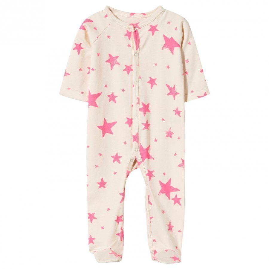 Noe & Zoe Berlin Footed Baby Body In Neon Pink Stars Yöpuku