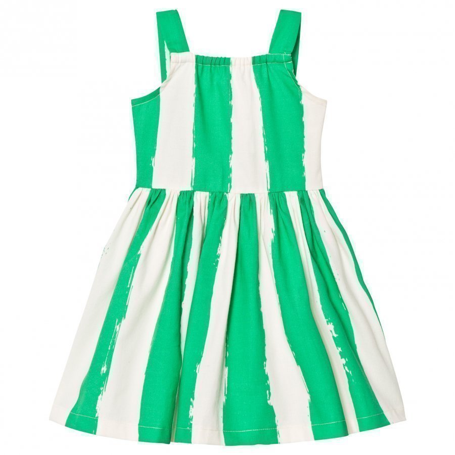Noe & Zoe Berlin Green Stripe Print Cotton Dress Mekko