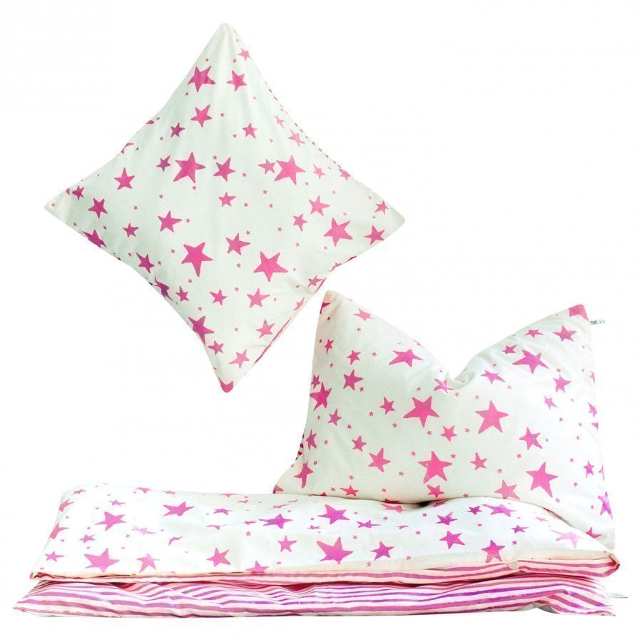 Noe & Zoe Berlin Junior Bedding Neon Pink Stars & Stripes Pussilakanasetti