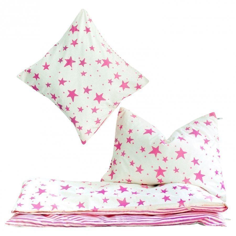 Noe & Zoe Berlin Kids Bedding Neon Pink Stars & Stripes Pussilakanasetti