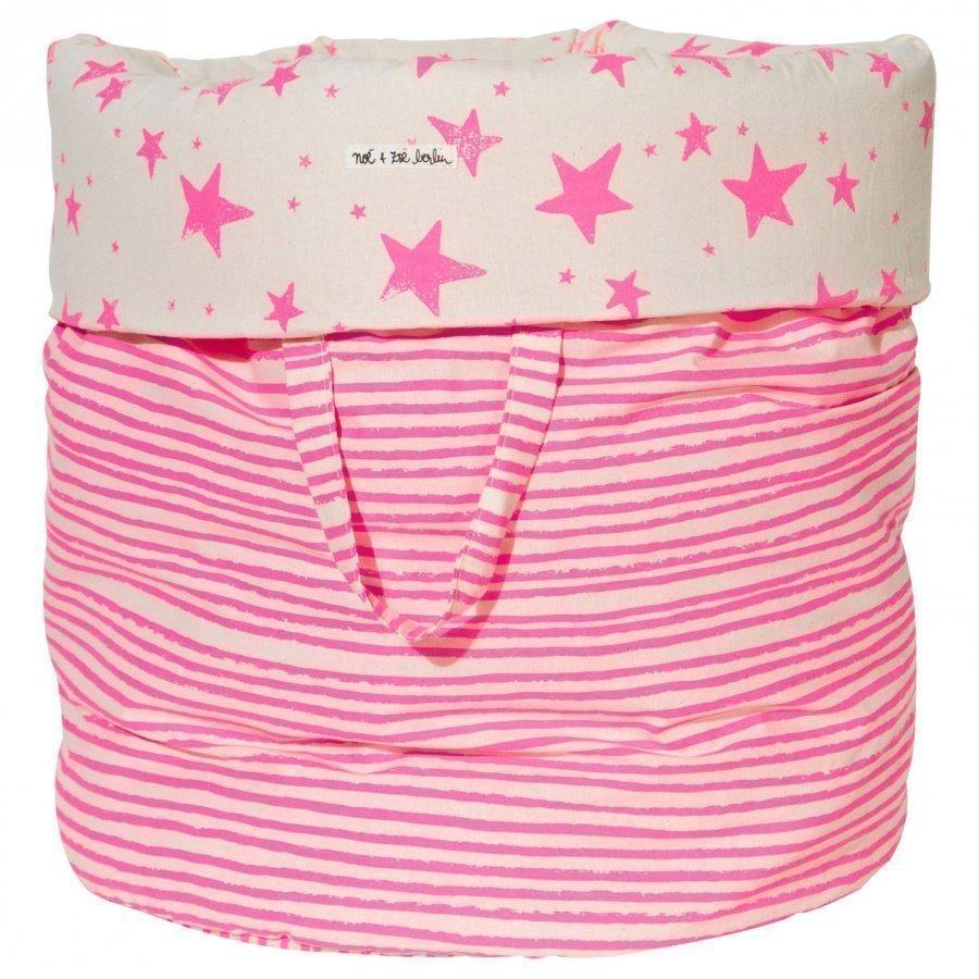 Noe & Zoe Berlin Large Storage Basket Pink Stars & Stripes Säilytyslaatikko