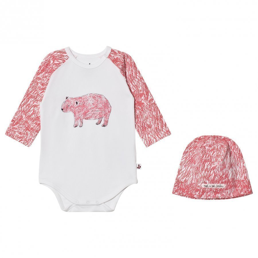 Noe & Zoe Berlin Pink Bear Hat And Baby Body Gift Set Lahjasetti