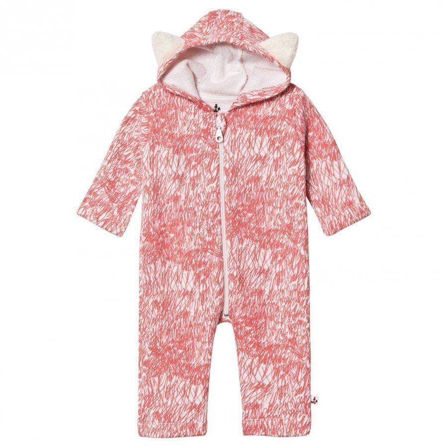 Noe & Zoe Berlin Pink Fur Printed Hooded Onesie Kokopuku