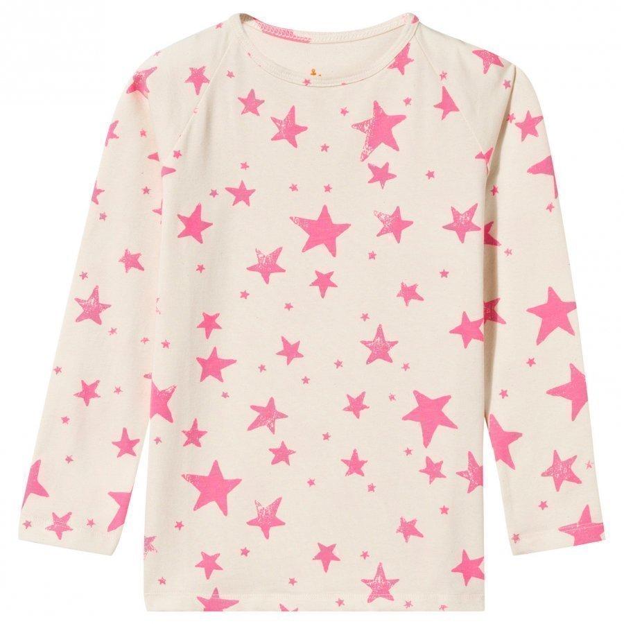 Noe & Zoe Berlin Raglan T-Shirt Neon Pink Stars Pitkähihainen T-Paita