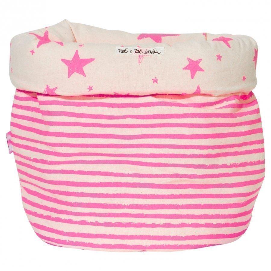 Noe & Zoe Berlin Storage Basket S Pink Stars & Stripes 25x30 Säilytyslaatikko