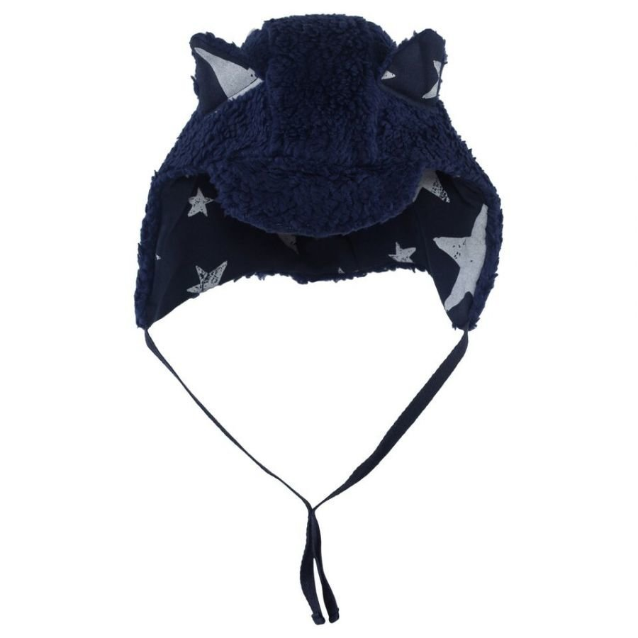 Noe & Zoe Berlin Teddy Fleece Hat With Navy Stars Korvalapullinen Päähine