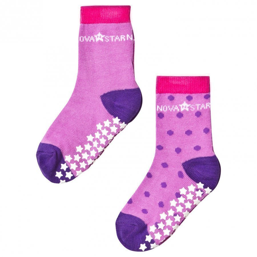 Nova Star 2-Pack Anti-Slip Purple Socks Sukat