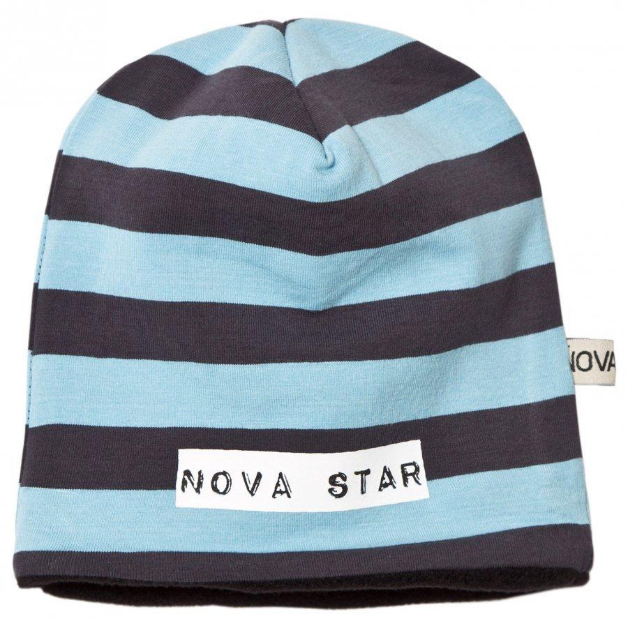 Nova Star Beanie Fleece Lined Striped Blue Pipo