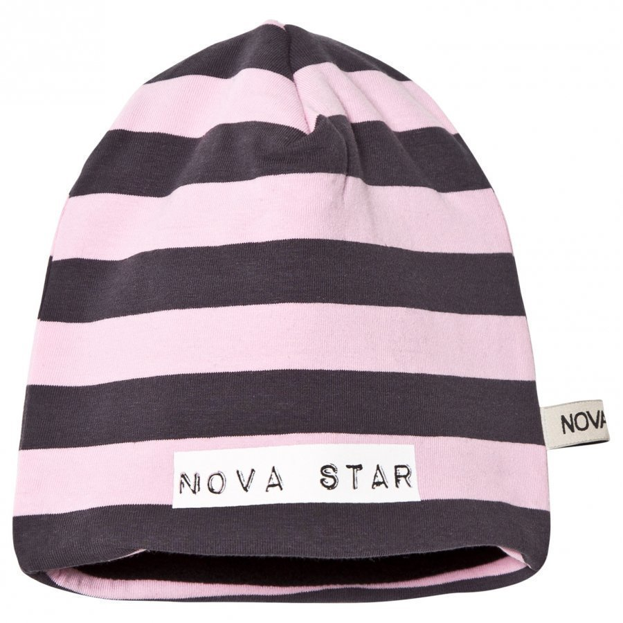 Nova Star Beanie Fleece Lining Striped Light Pink Pipo