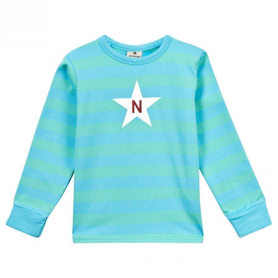 Nova Star Striped Tee Mint Blue Pitkähihainen T-Paita