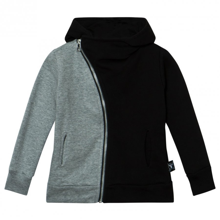 Nununu Half & Half Zip Hoodie Black/Heather Grey Huppari