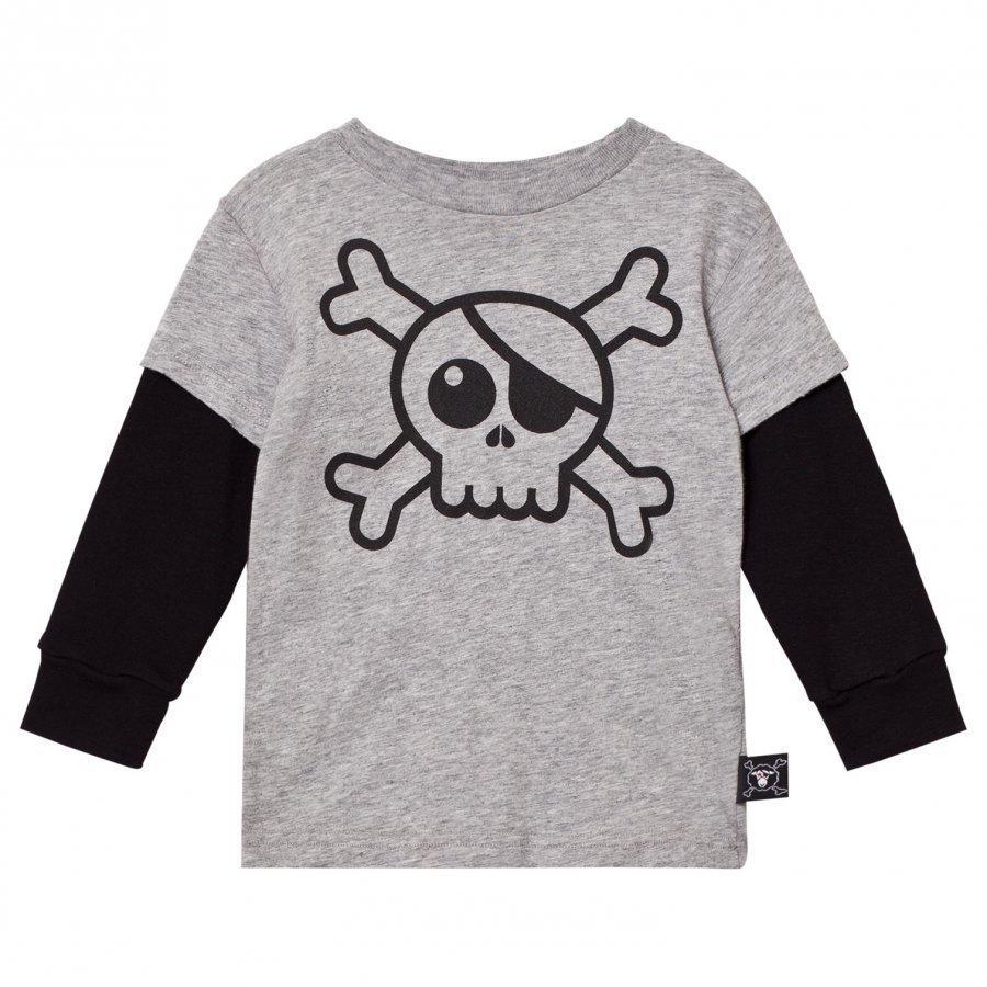 Nununu Skull T-Shirt Heather Grey Pitkähihainen T-Paita
