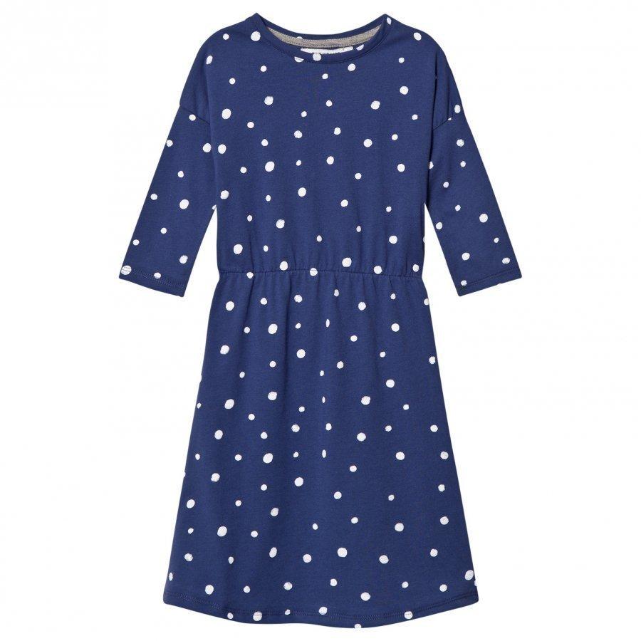 One We Like Pop Dress Ls Dots Aop Blue Mekko