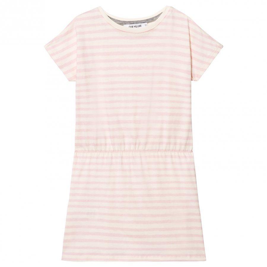 One We Like Pop Dress Stripe Pristine White Mekko