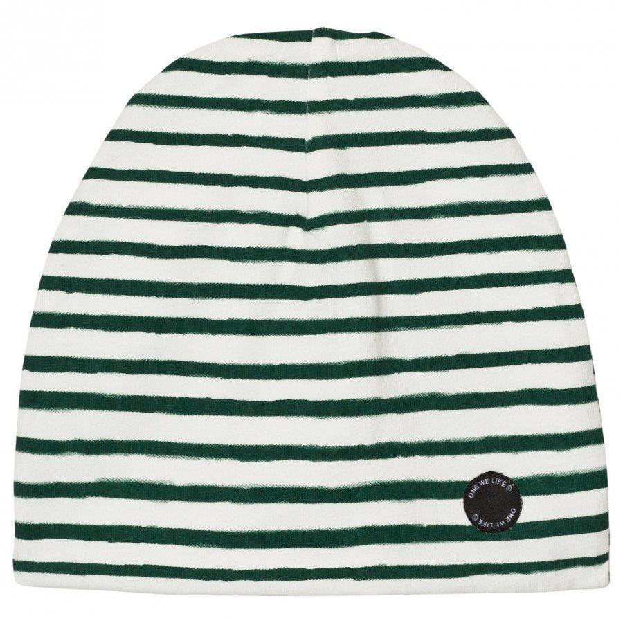 One We Like Stripe Hat White/Green Pipo