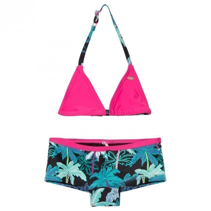 Oneill Black And Pink Palm Print Selva Shorty Bikini Bikinit