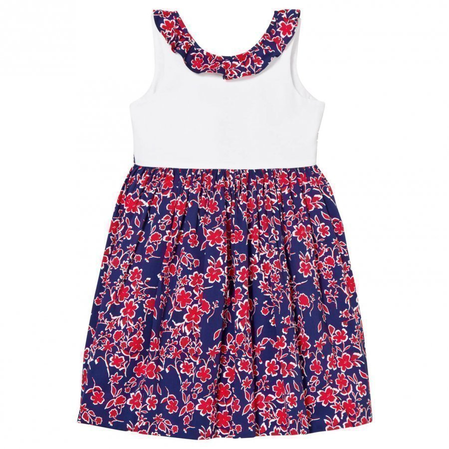 Oscar De La Renta Navy Floral Ruffle Neck Dress Ikat Cotton Juhlamekko