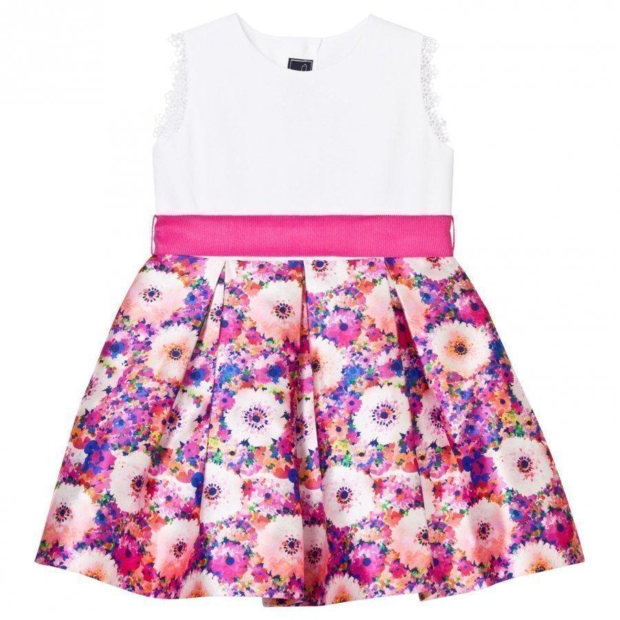 Oscar De La Renta Pink Rainbow Dahlia Mikado Party Dress Juhlamekko