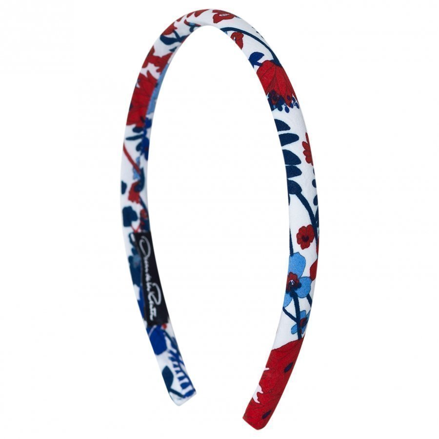 Oscar De La Renta Red Blue Headband Hiuspanta