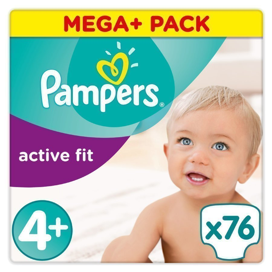 Pampers Active Fit Vaippa Koko 4+ Maxi Plus 9 20kg Mega Plus Paketti 76 Kappaletta