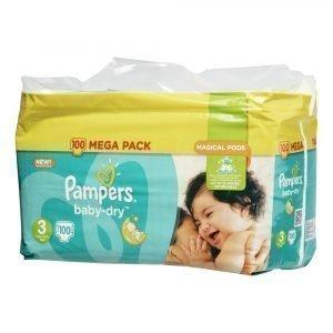 Pampers Baby-Dry 3 5-9 Kg Teippivaippa Megapakkaus 100 Kpl