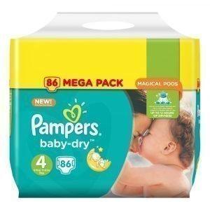 Pampers Baby-Dry 4 8-16 Kg Teippivaippa Megapakkaus 86 Kpl