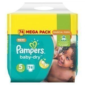 Pampers Baby-Dry 5 11-23 Kg Teippivaippa Megapakkaus 74 Kpl