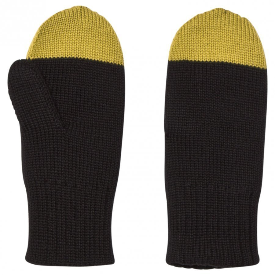 Papu Kivi Mittens Black/Green Fleece Lapaset