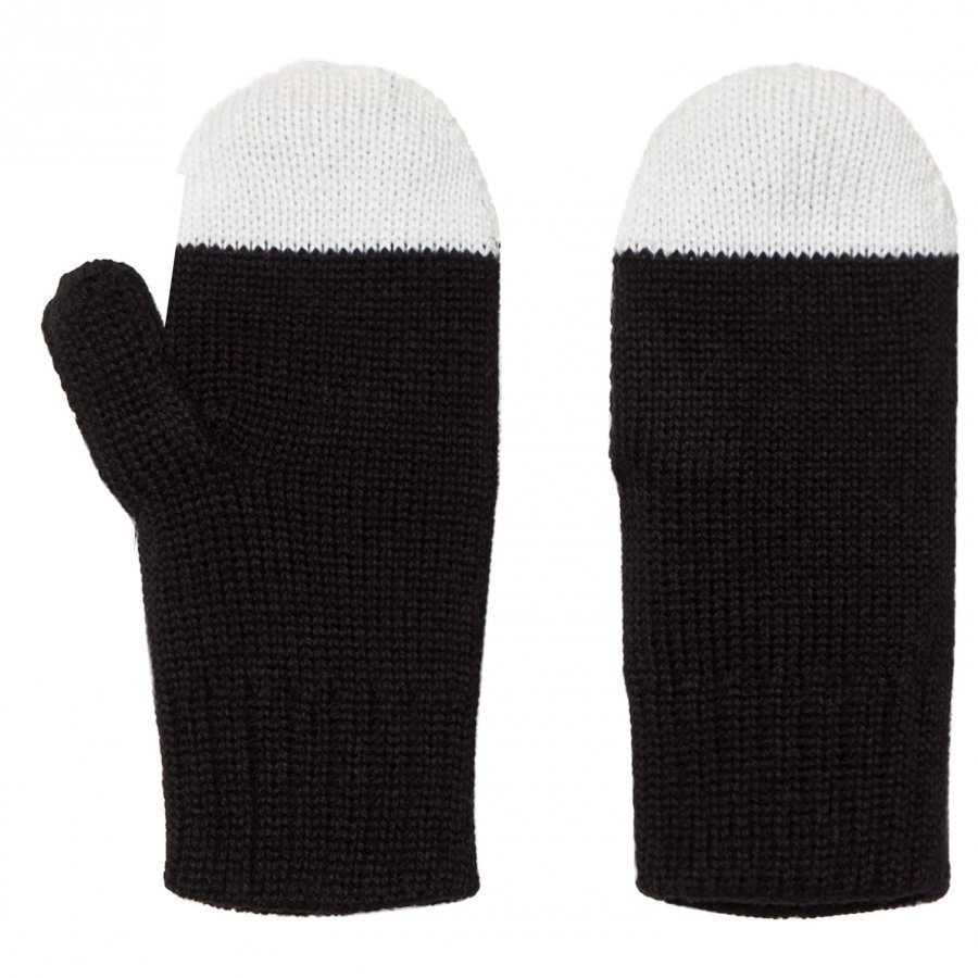 Papu Kivi Mittens Black/White Fleece Lapaset