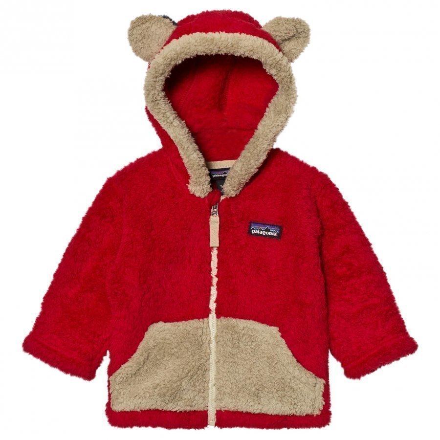 Patagonia Baby Furry Friends Hoodie Sweater Classic Red Fleece Huppari