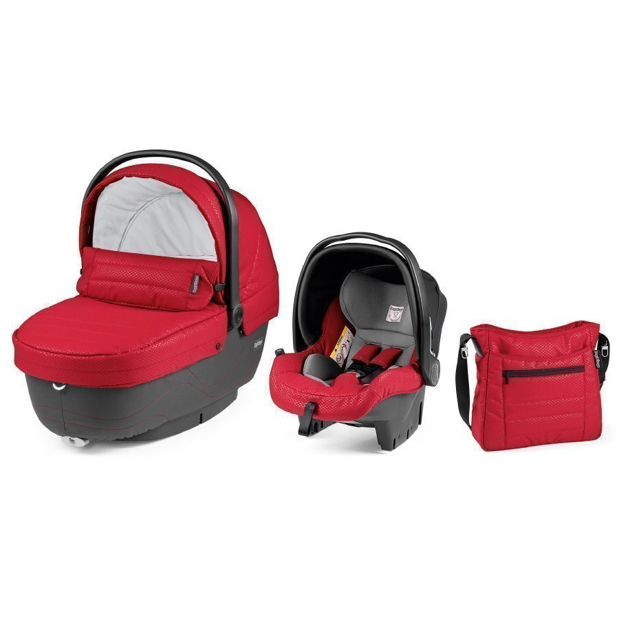 Peg Perego Set Xl Vaunukoppa Turvakaukalo Hoitolaukku Bloom Red