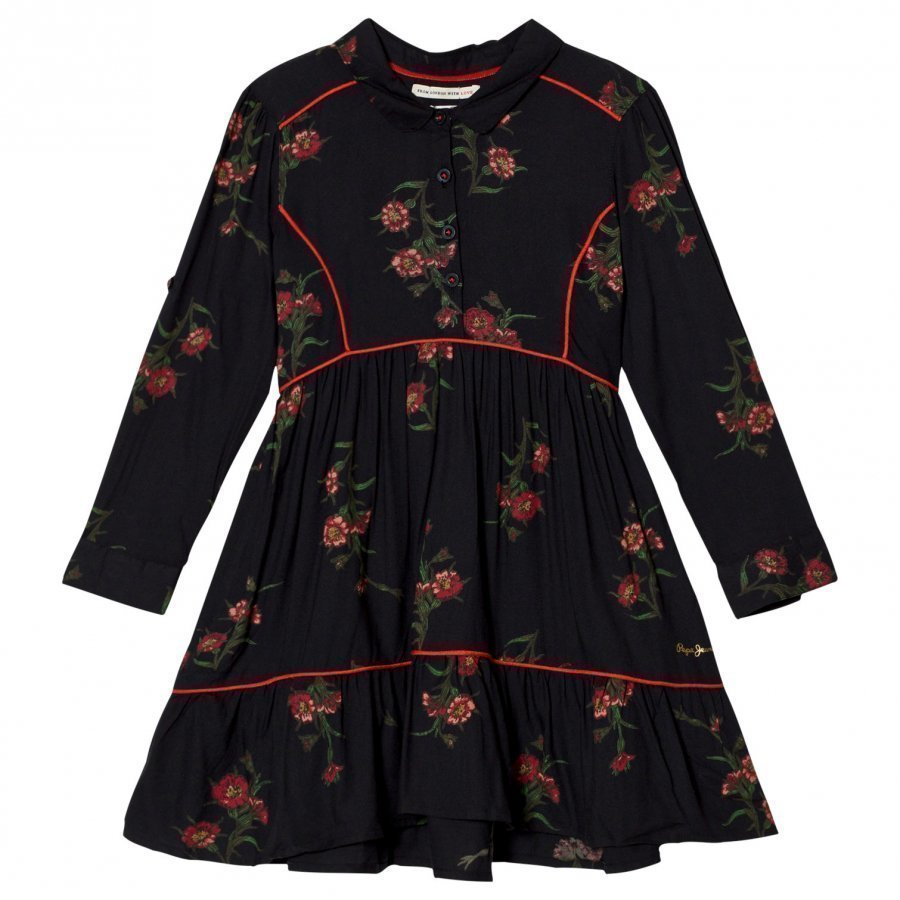 Pepe Jeans Black Floral Print Dress Mekko