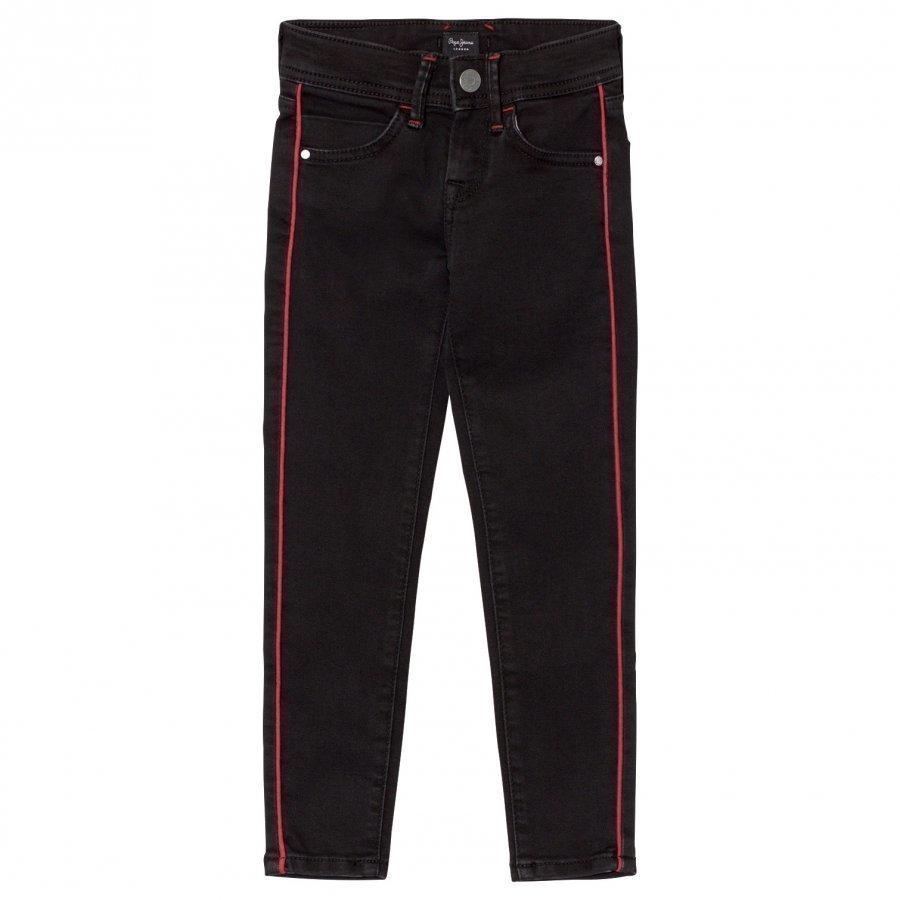 Pepe Jeans Black Pixelette Piped Detail Skinny Jeans Farkut