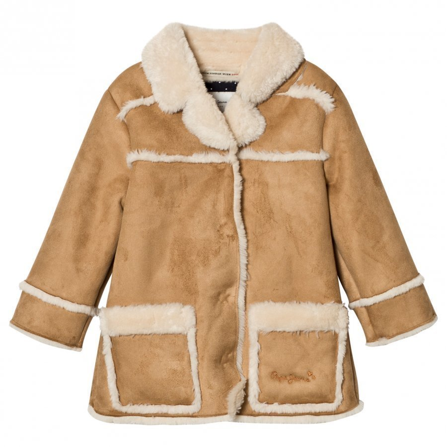 Pepe Jeans Camel Shearling Coat Turkis